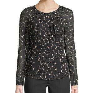 Club Monaco Keisa Floral Long-Sleeve Silk Top XS